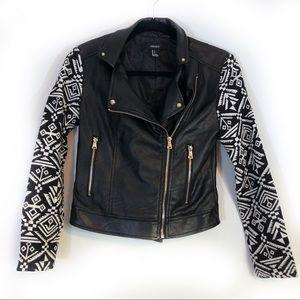 Forever 21 Black Moto Jacket tribal sleeves Small